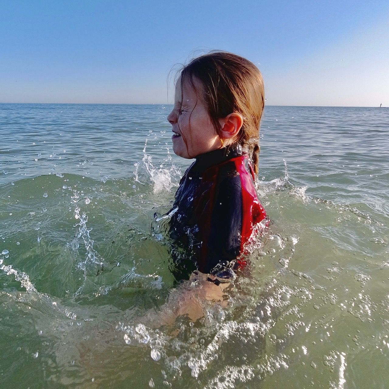 A girl swimming in the Sussex sea