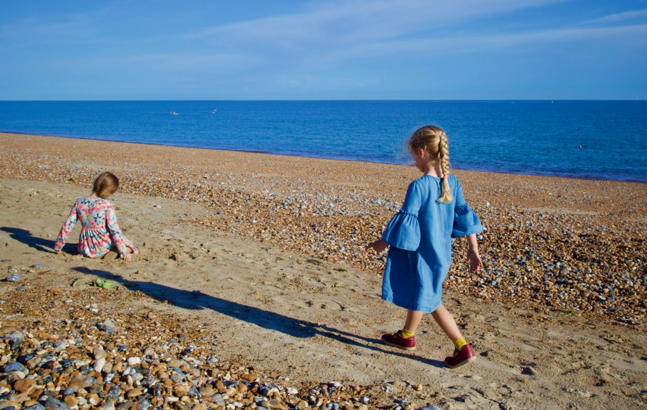 Two young girls on Shoreham Beach