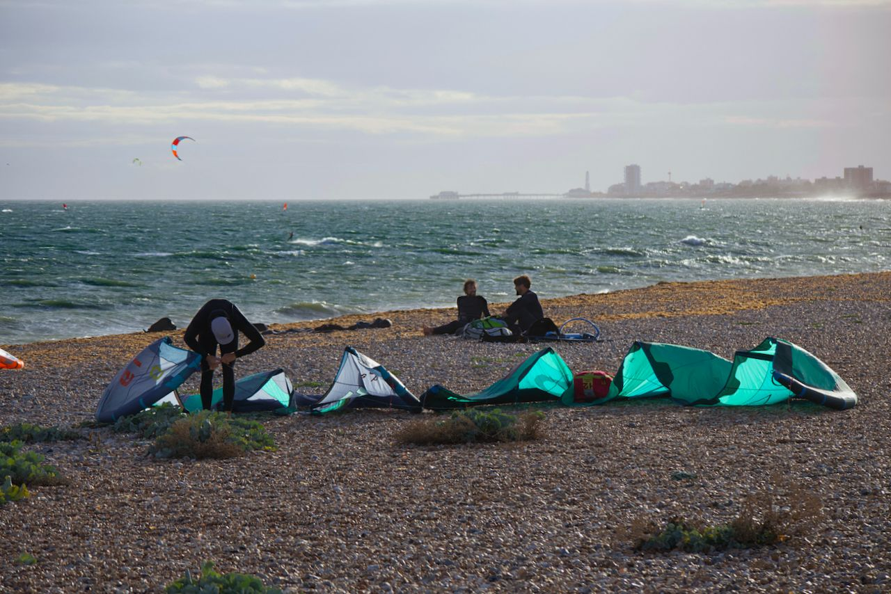 Kite surfers enjoying Shoreham Beach.